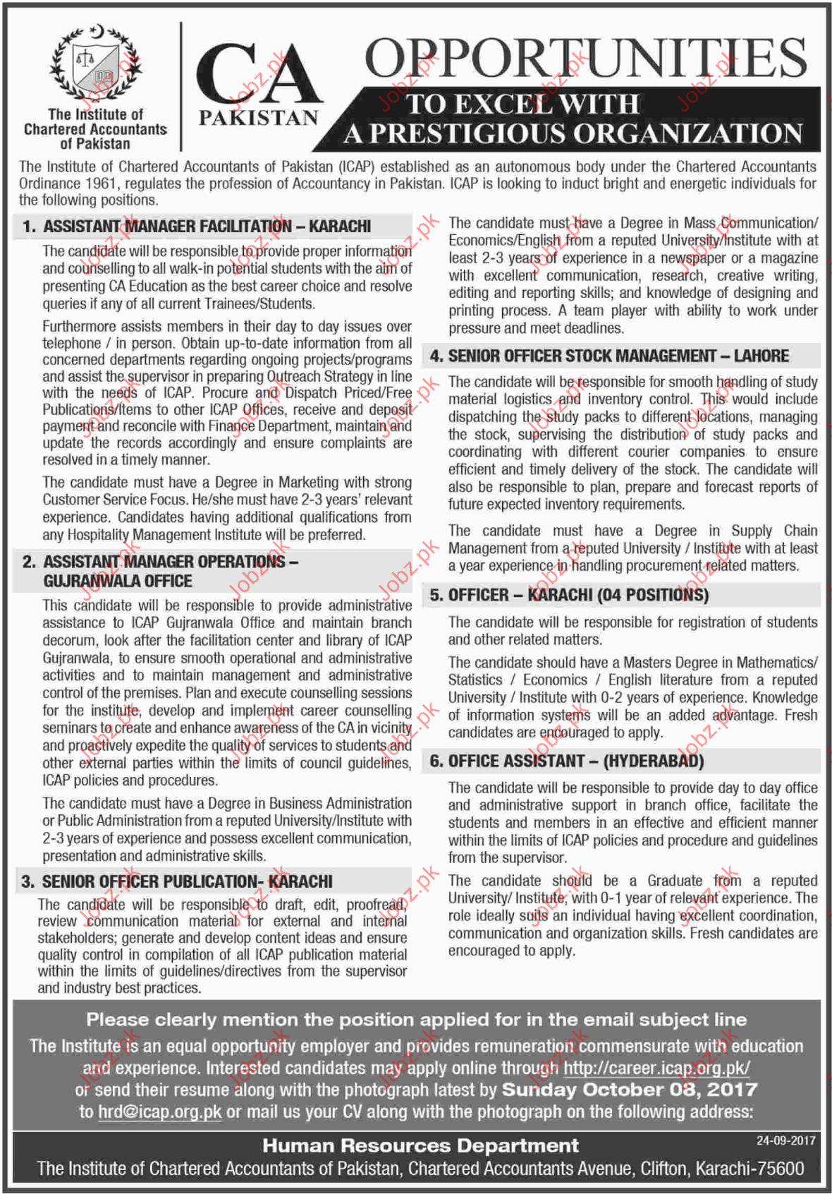 The Institute Chartered Accountants Of Pakistan Jobs 2017