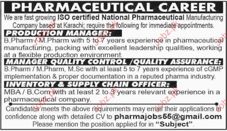 Production Manager Required For Pharmaceutical Company