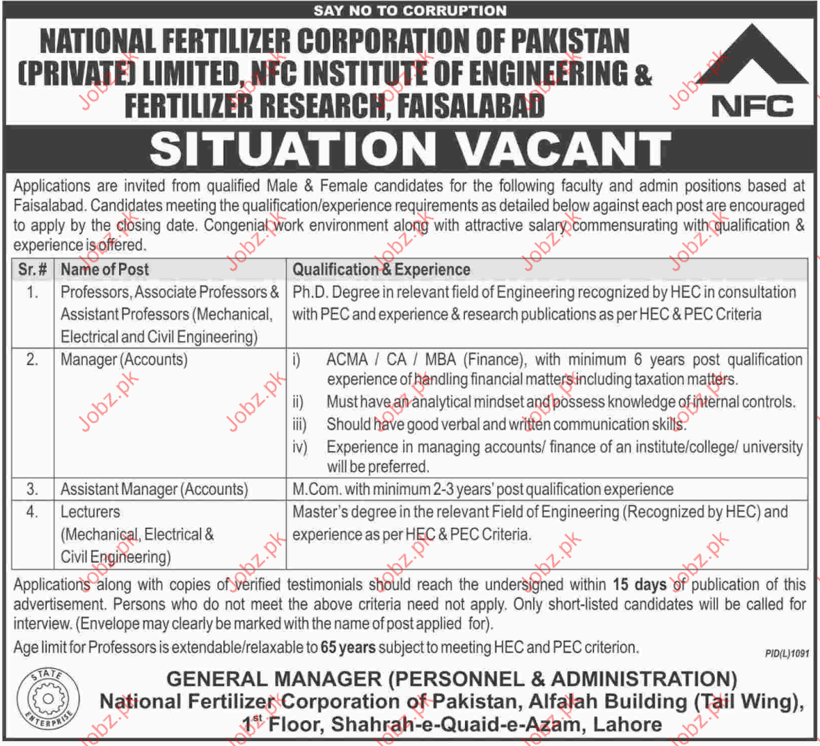 Professors Jobs National Fertilizer Corporation Of Pakistan