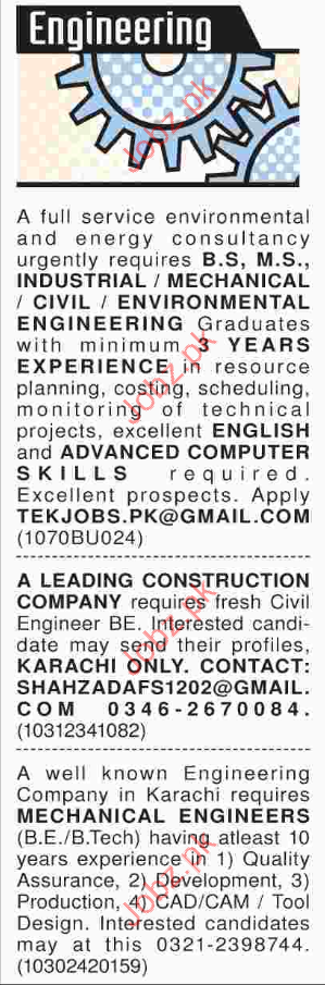 Engineering Staff Required for Private Comany
