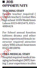 Female Teachers and Medical Technologists Wanted
