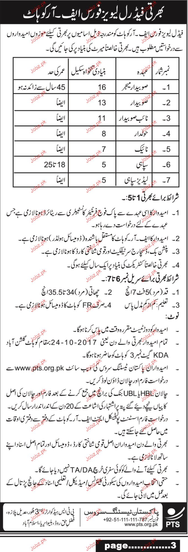 Recruitment in Federal Leavy Force FR Kohat