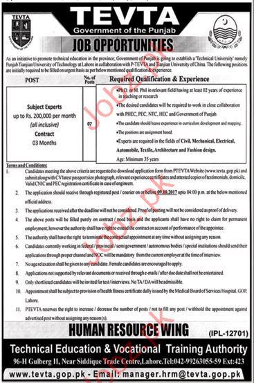 TEVTA Government of Punjab Jobs 2017