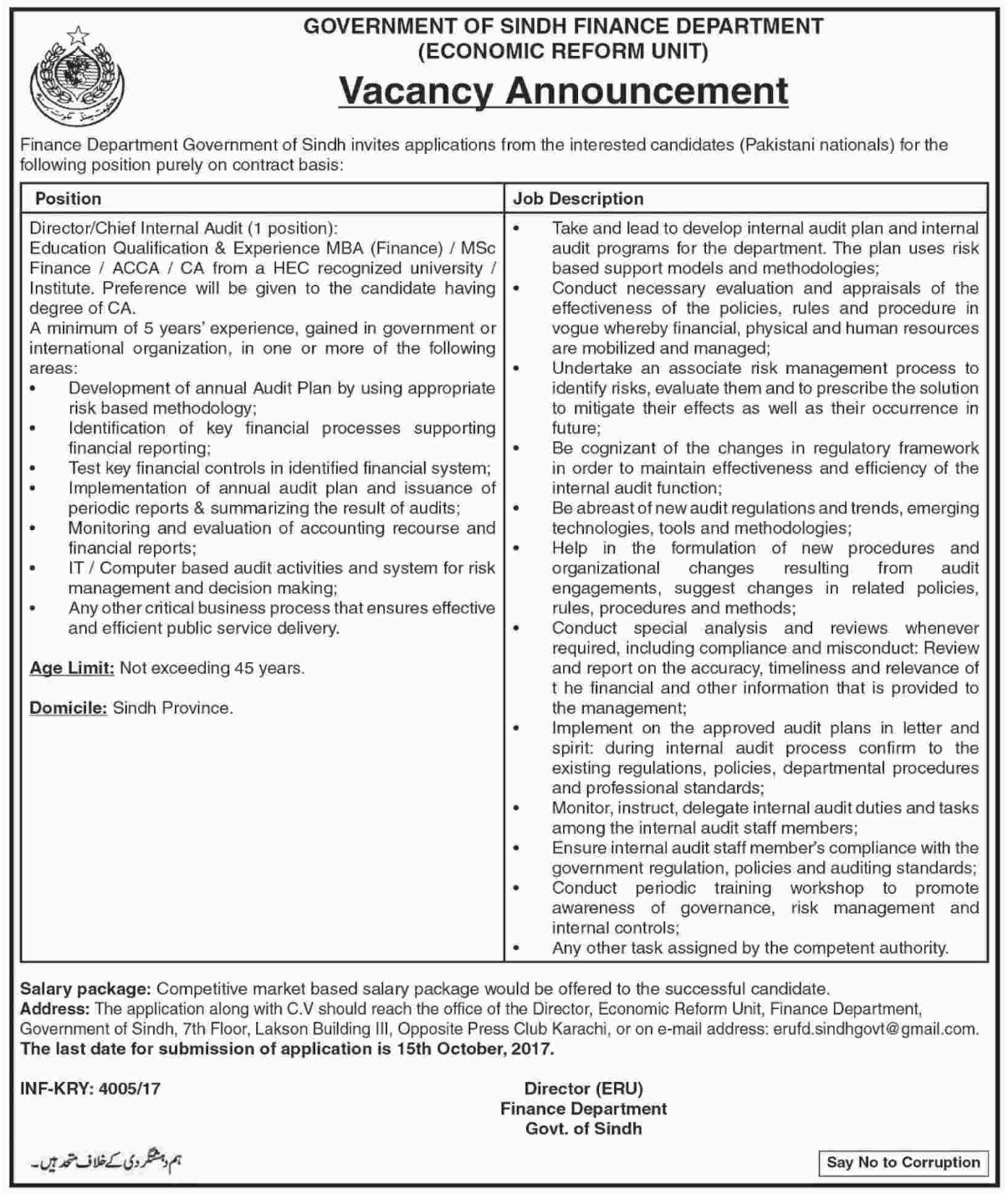 Sindh Government Finance Department Auditor Jobs