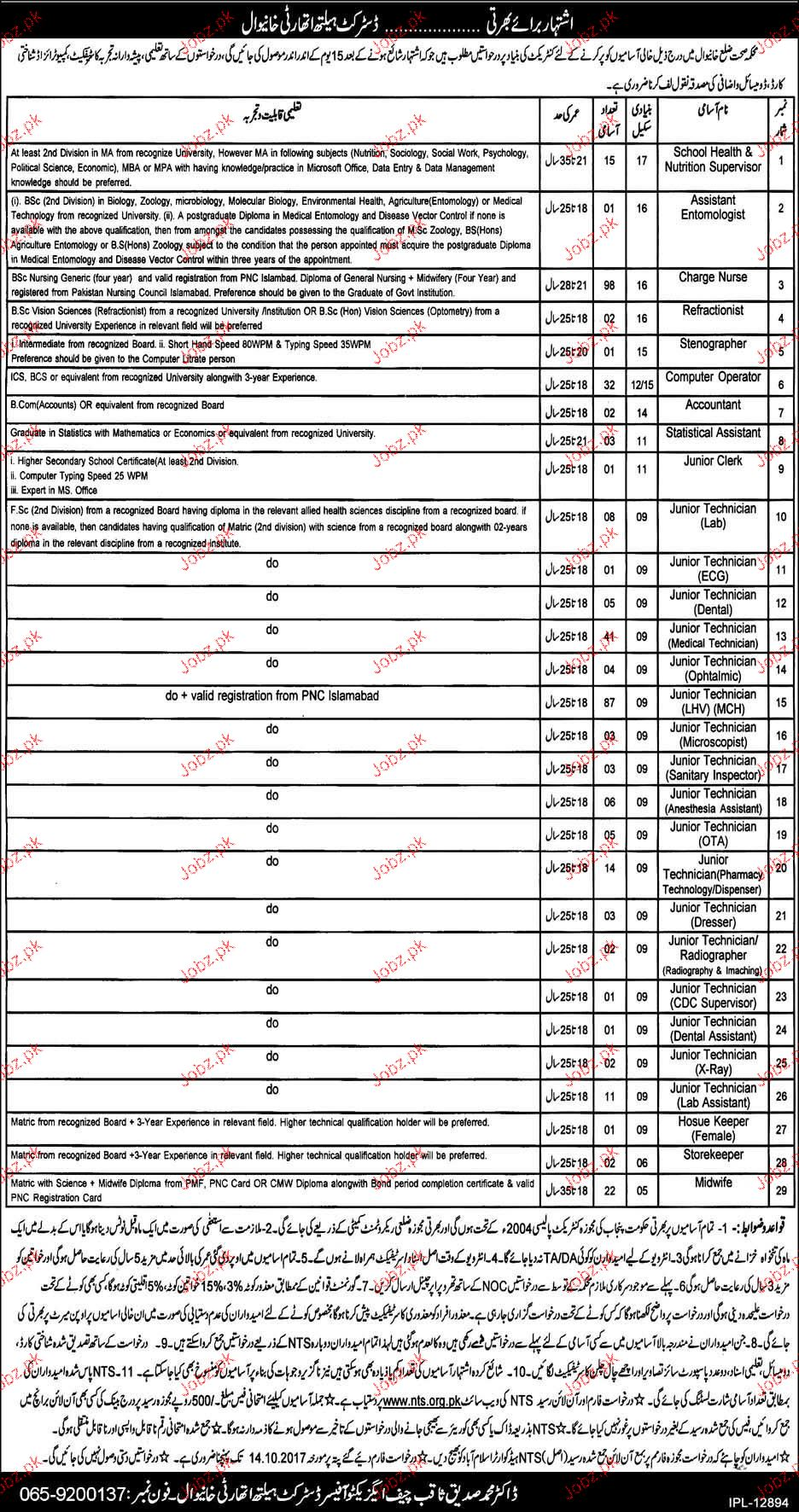 Health Department  NTS Jobs