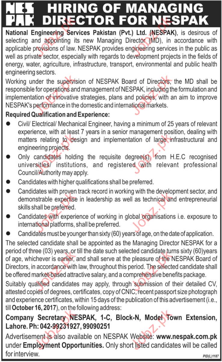 NESPAK National Engineering Services Pakistan Jobs 2017