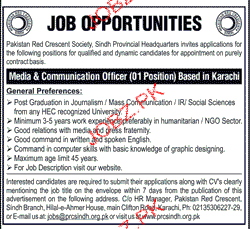 Pakistan Red Crescent Sindh Provincial Jobs
