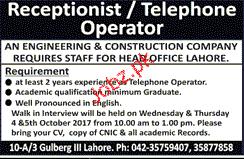 Receptionists / Telephone Operators Wanted