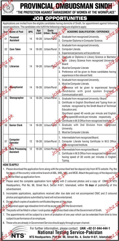 Provincial Ombudsman Sindh NTS Jobs
