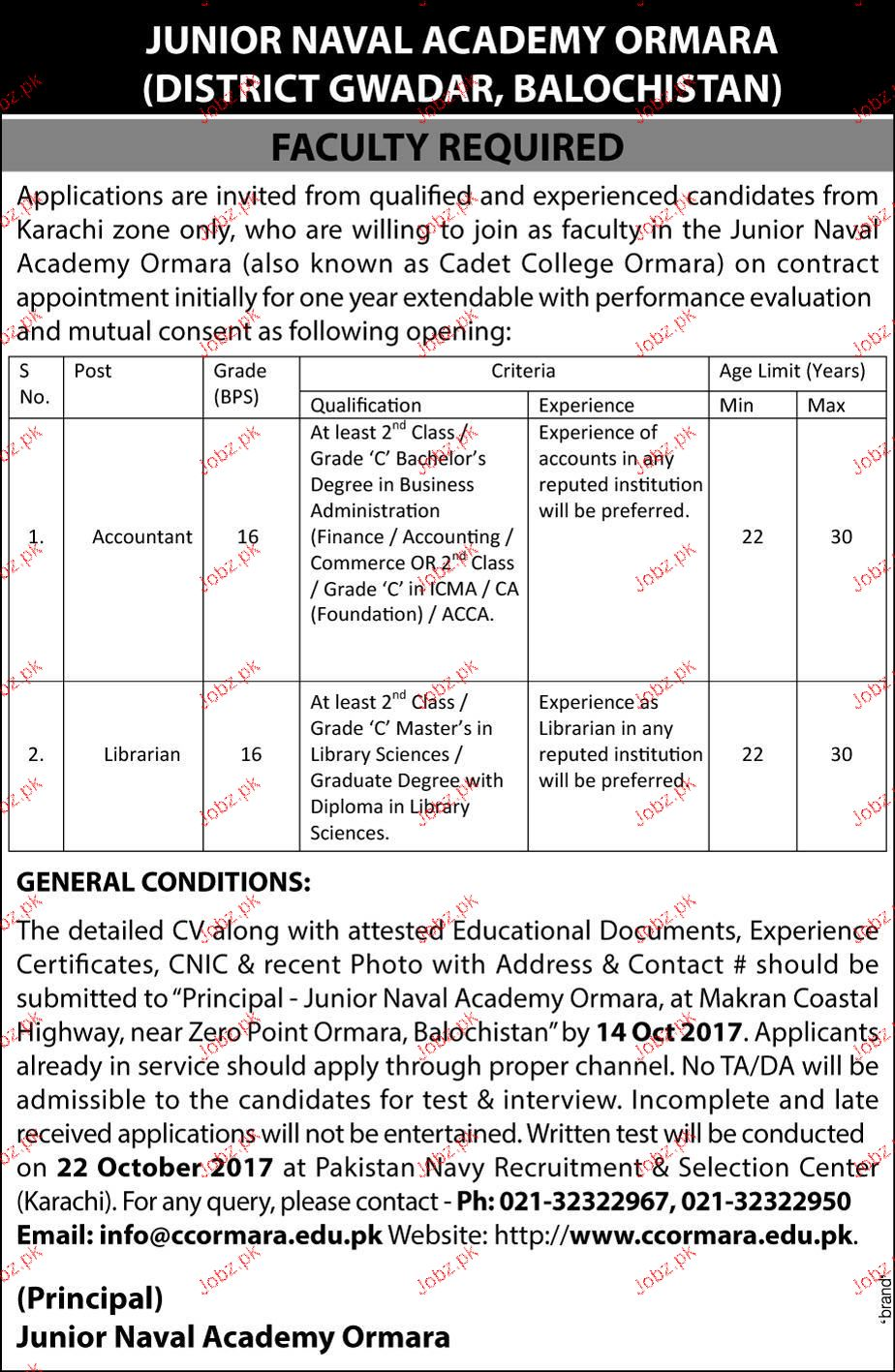 Junior Naval Academy Ormara Jobs
