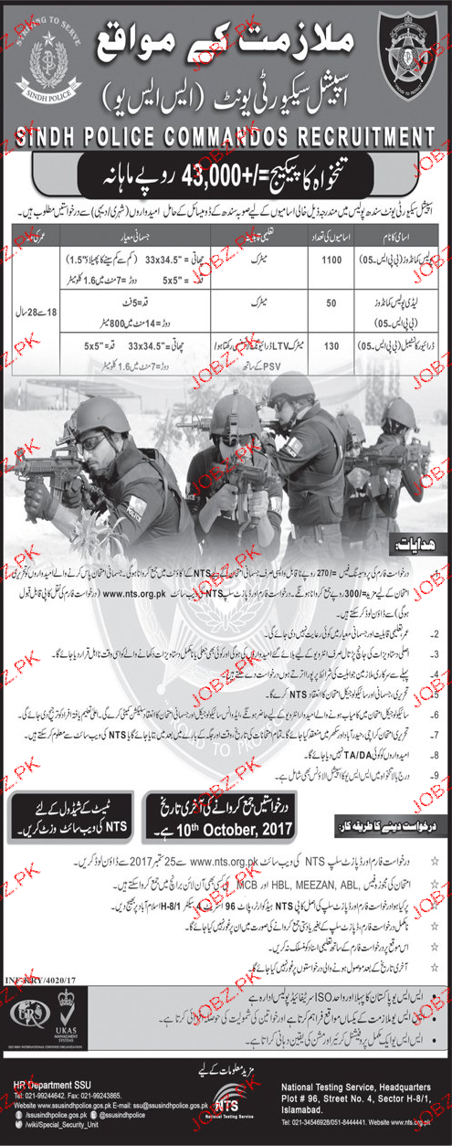 Sindh Police Cardamons Recruitment