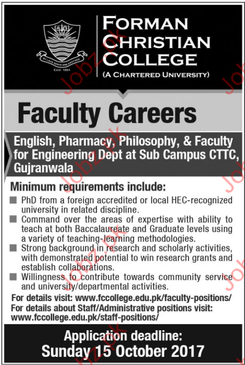 Forman Christian College FCC, Lahore Jobs