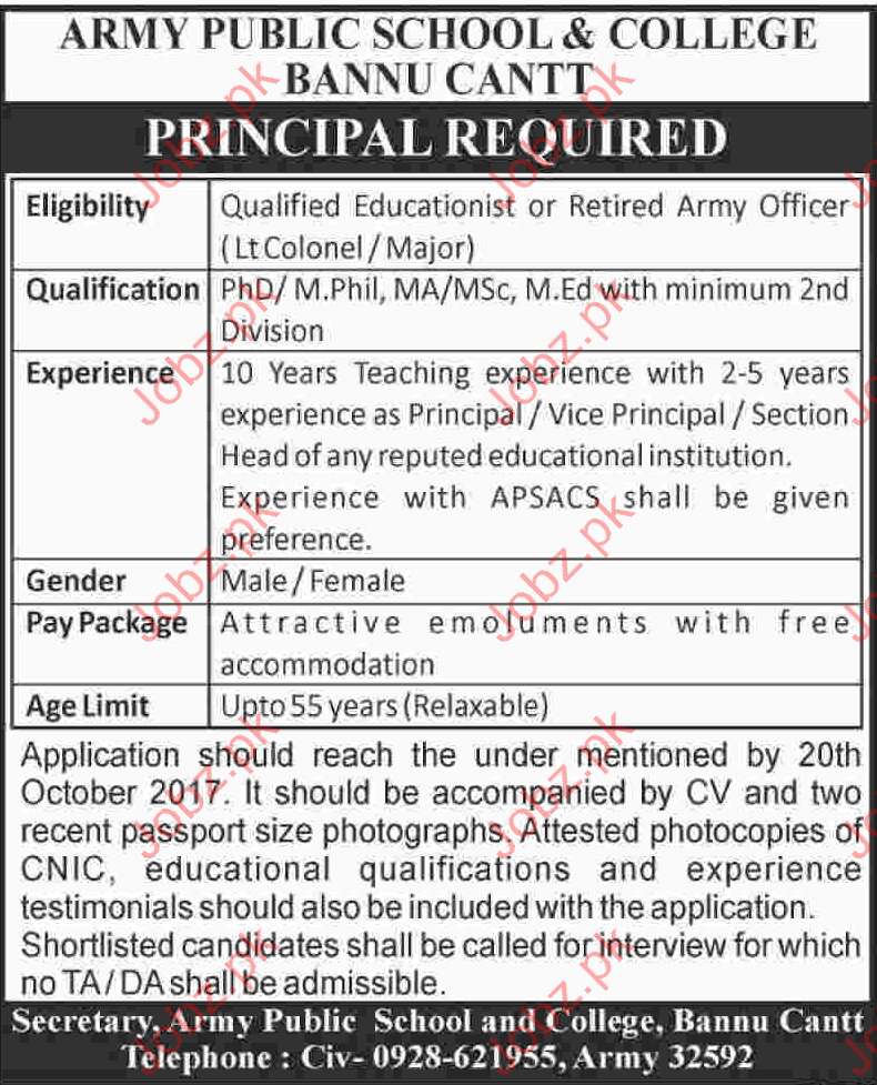 Army Public School & College Bannu Cantt Jobs