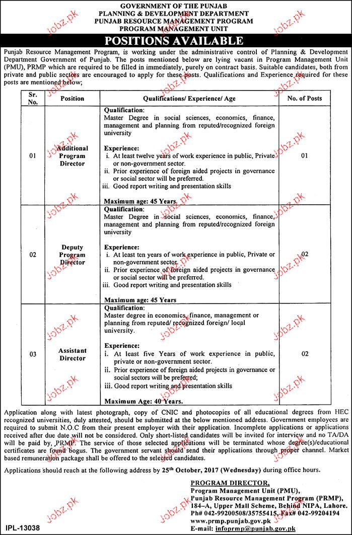 Planning and Development Department Govt of the Punjab Jobs