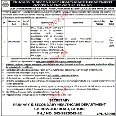 Primary  & Secondary Health Department NTS Jobs