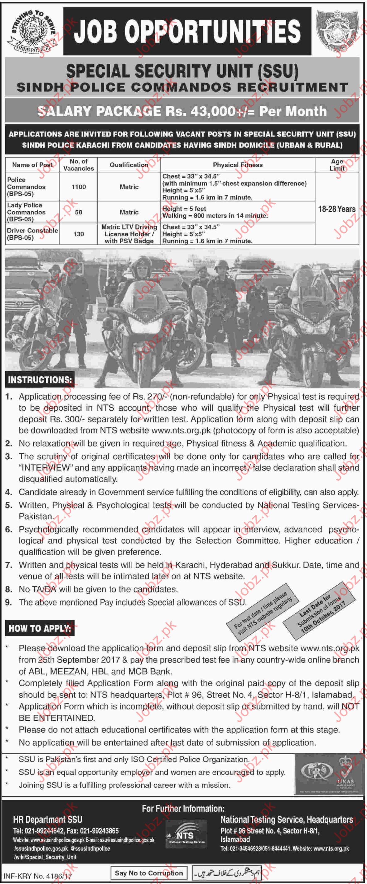 Special Security Unit SSU Required Police Commandos