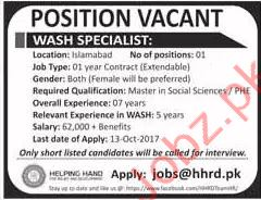 Wash Specialist Jobs Islamabad