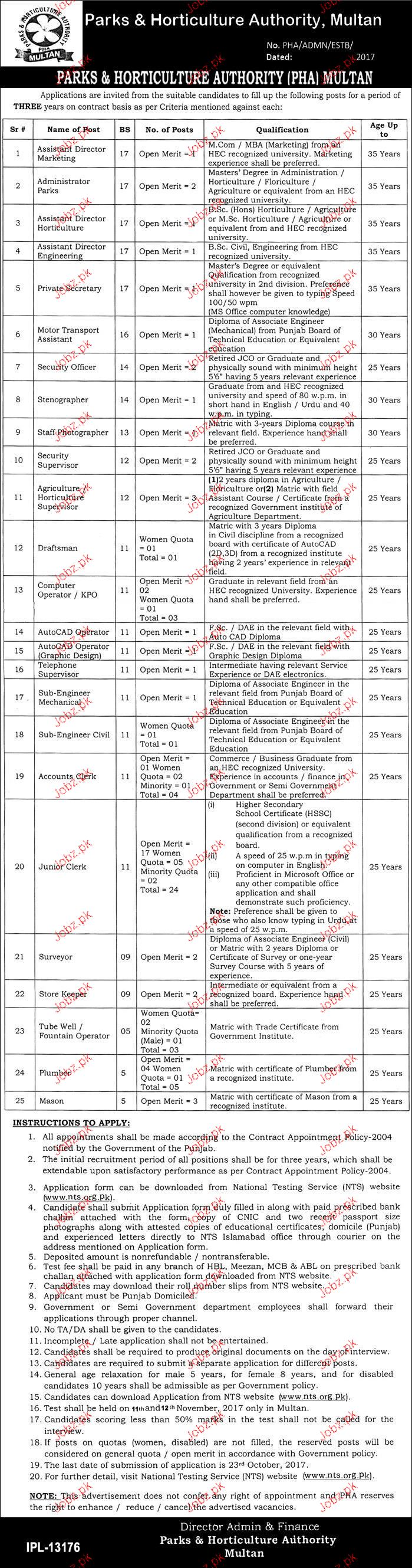 Parks and Horticulture Authority NTS Jobs