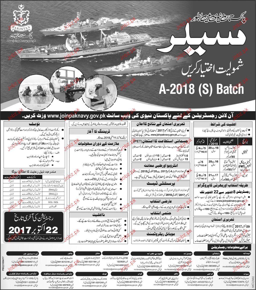 Recruitment as Sailors in Pakistan Navy