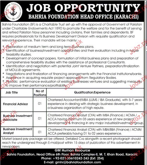Bahria Foundation Jobs
