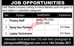 Factory Staff, Spray Gun Painters Job Opportunity