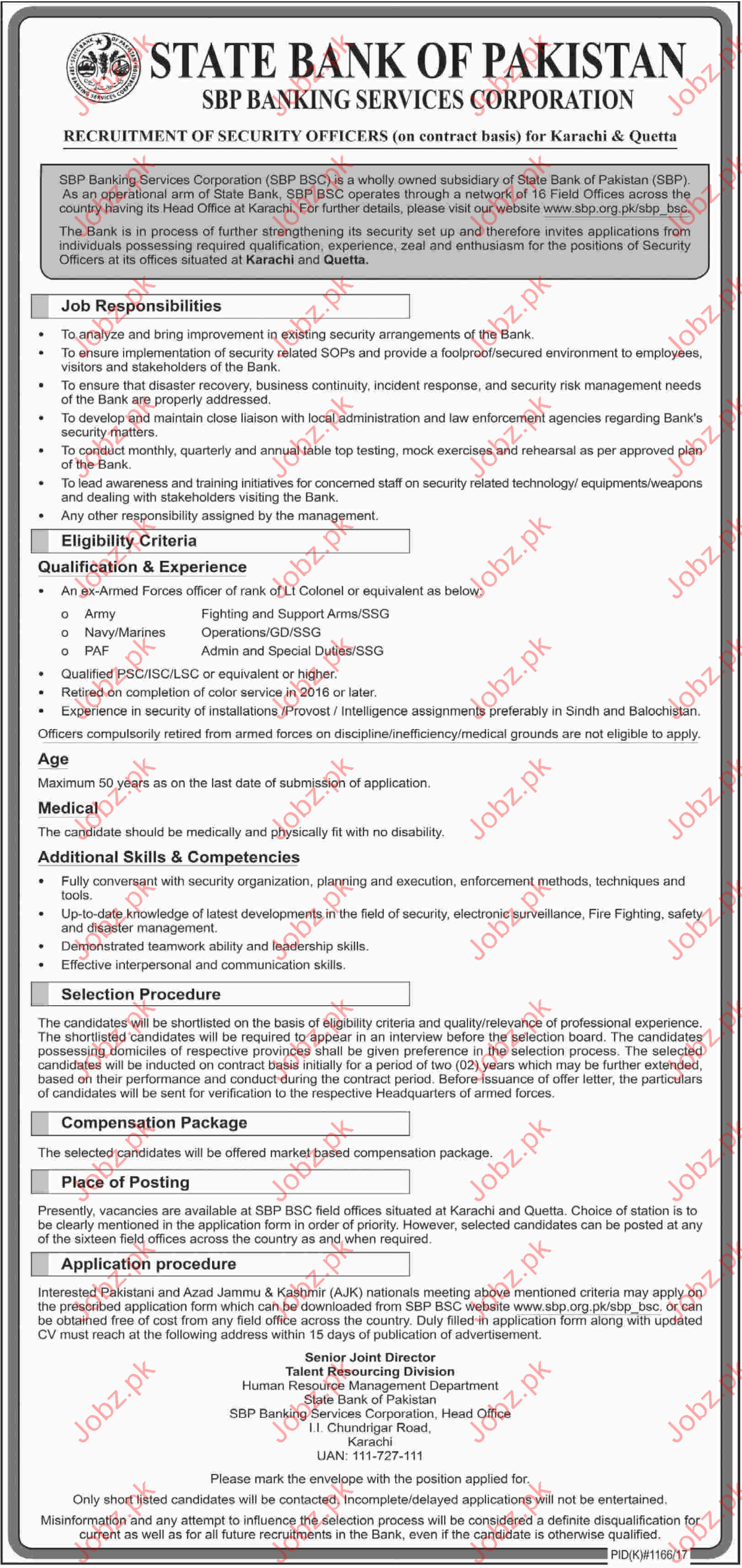 State Bank of Pakistan Security Officer Job 2017
