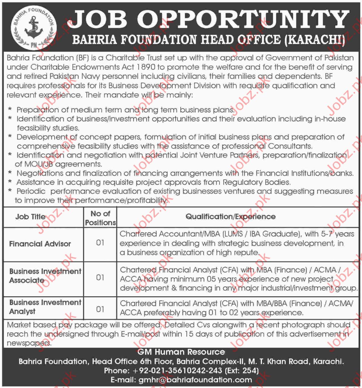 Bahria Foundation Head Office (Karachi) Jobs Opportunity