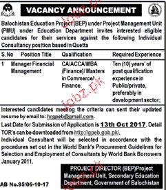 Balochistan Education Project BEP Job