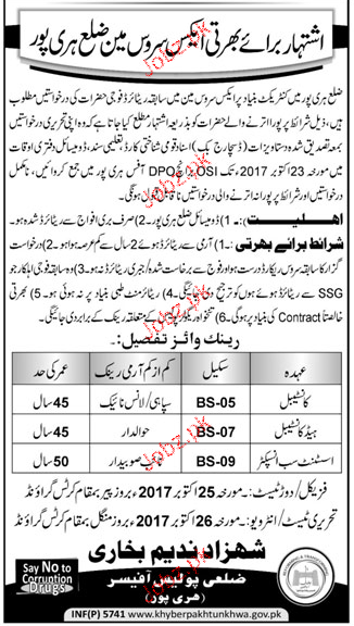 District Police Office Hairpur Jobs
