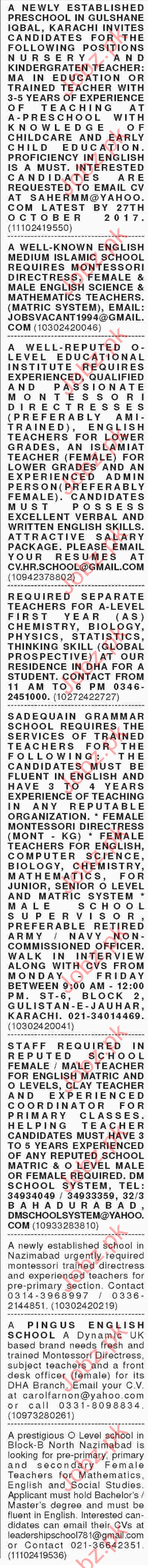 Teaching jobs Gulshan e Iqbal Karachi 2019 Job Advertisement