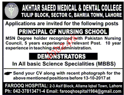 Akhtar Saeed Medical & Dental College Jobs