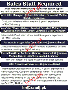 Area Sales Manager Job Opportunity