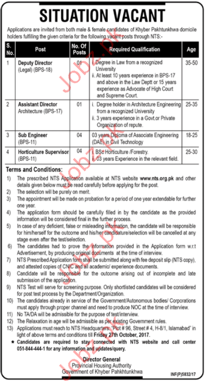 Provincial Housing Authority KPK required