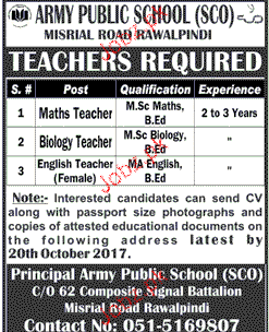 Army Public School and College APS Jobs