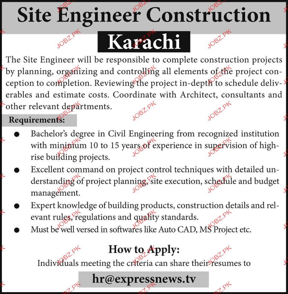 site Engineers Construction Job Opportunity