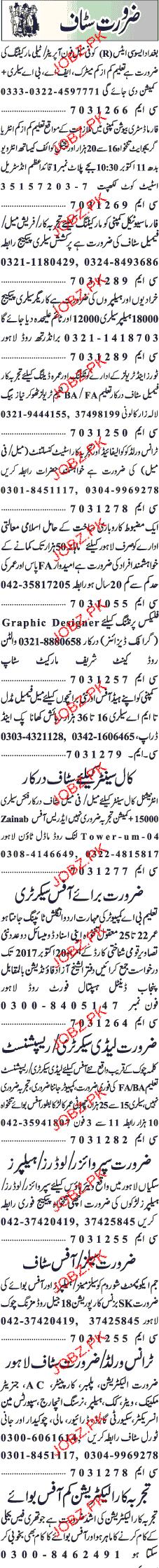 Female Telephone Operators, Marketing Staff Job Opportunity