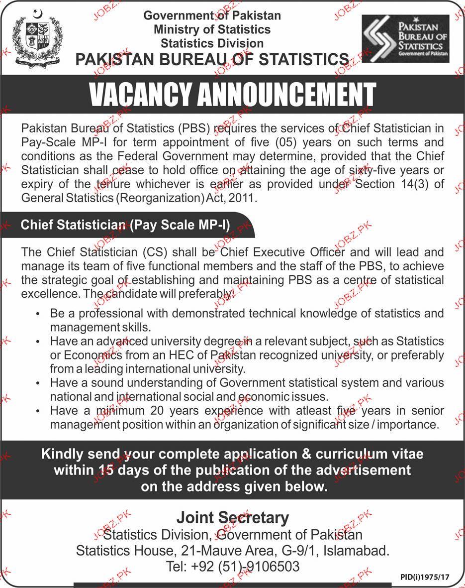 Pakistan Bureau of Statistics Government of Pakistan Jobs