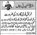 Security Staff Required In Lahore