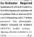 Co-Ordinator Required For College