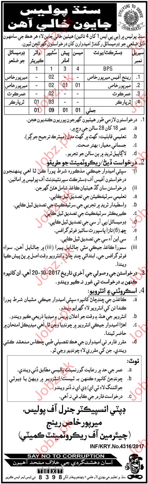 Sindh Police Jobs 2017