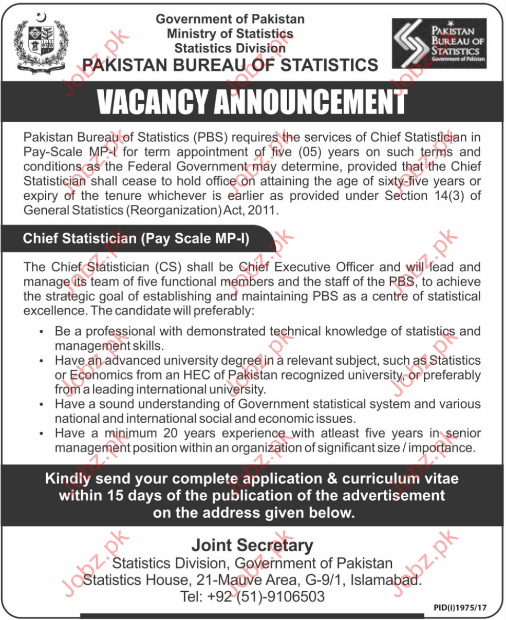 PBS required chief statistician