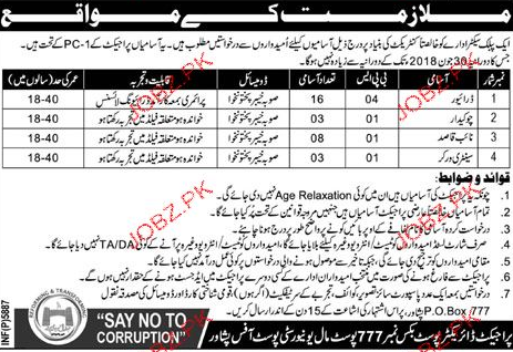 Drivers, Chawkidars, Naib Qasid and Sanitary Worker Jobs