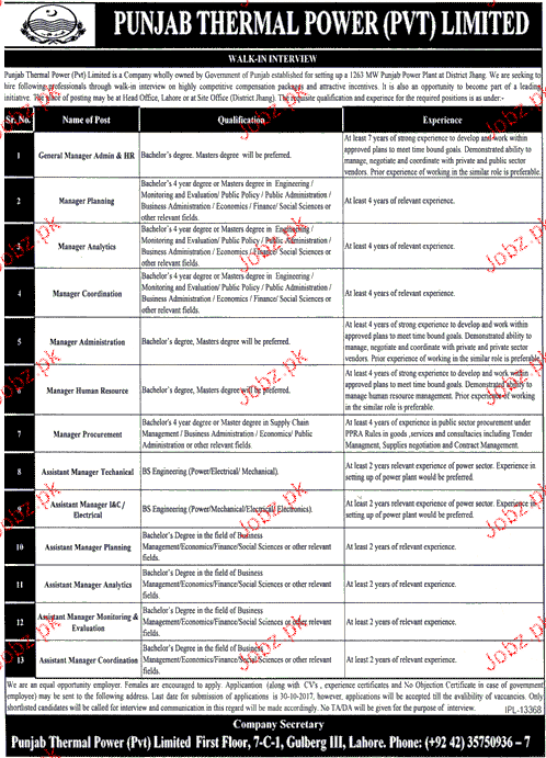 Punjab Thermal Power Pvt Limited PTPPL Jobs
