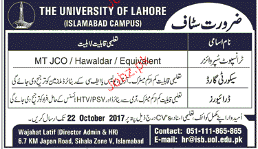 The University of Lahore Jobs