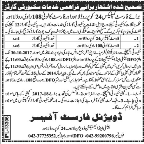 Forest Department Security Guard Jobs in Lahore