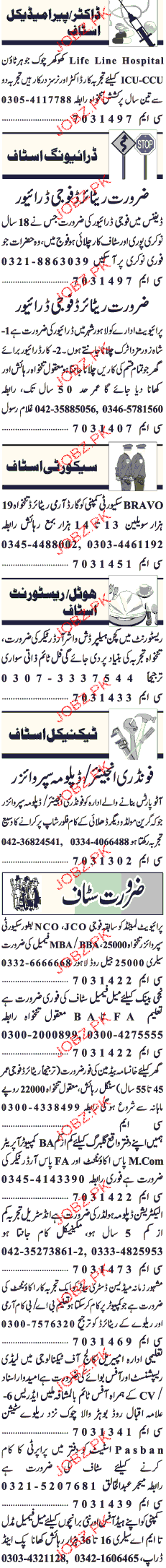 Doctors, ICU Nurses, Army Retired Drivers Job Opportunity