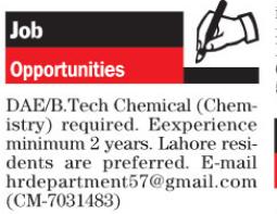 Job opportunities in Lahore