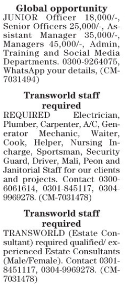 Transworld Staff Required In Lahore