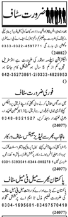 Staff Required in Private  Company Lahore