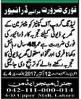 Driver wanted Lahore